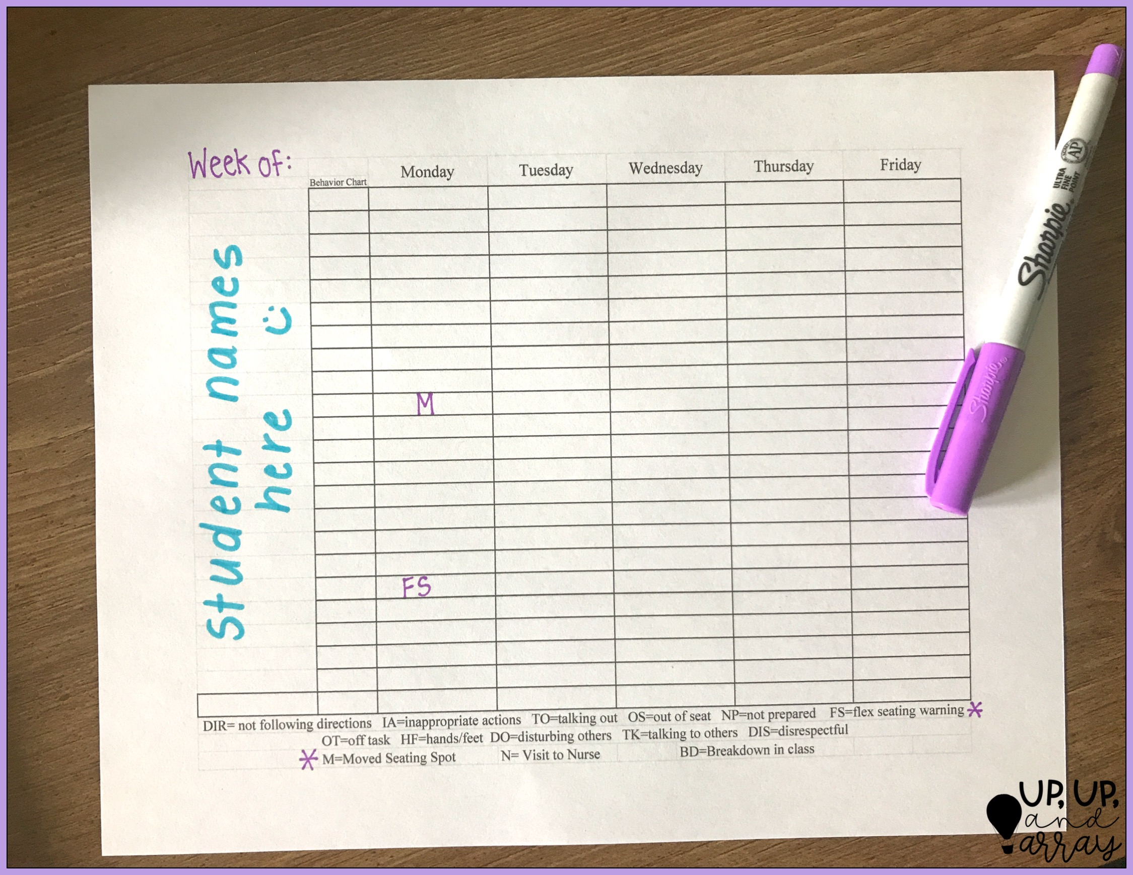 flexible seating teacher communication log