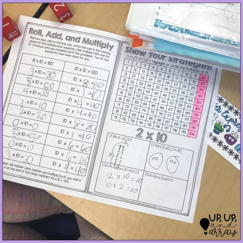 Roll, Add, Multiply page and Show your multiplication strategies in x10 booklet.