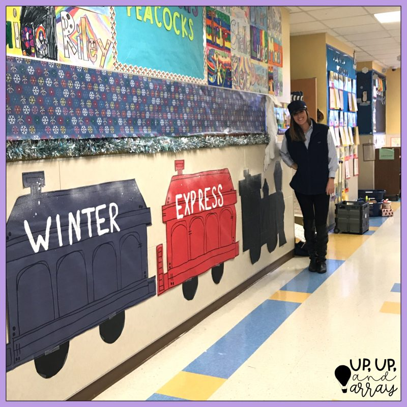 "Part of my room transformation included this ""Winter Express"" train outside my classroom door!"