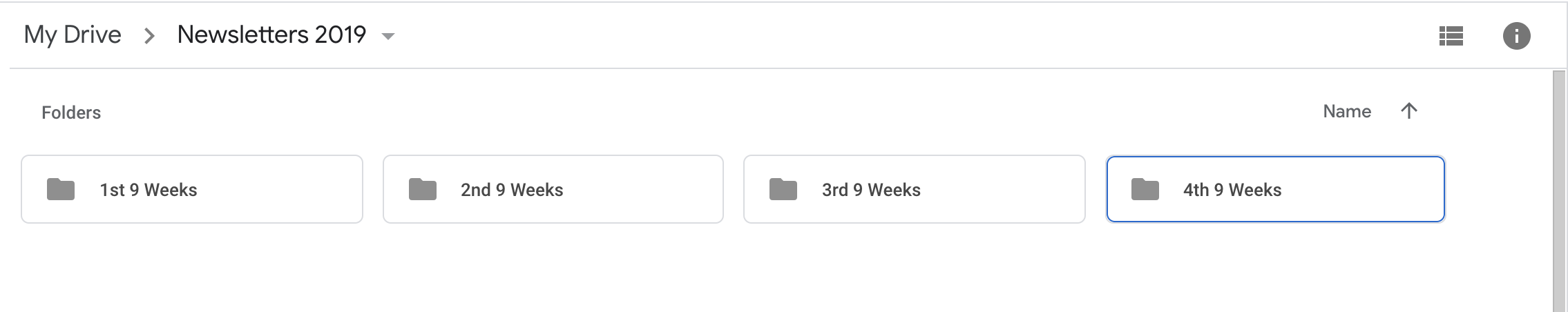 Google Drive folders for 1st, 2nd, 3rd and 4th 9 Weeks